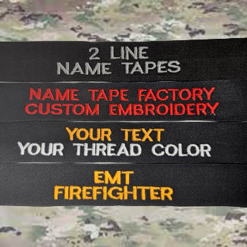 2 line name tape sew on