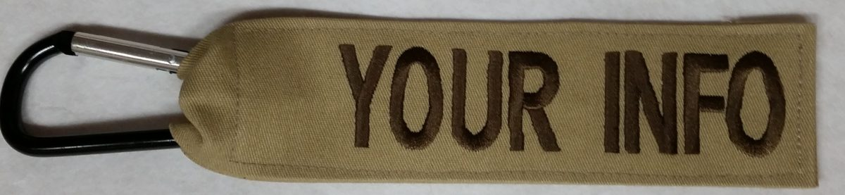 1 inch Luggage Tag With Carabiner Hook Tan